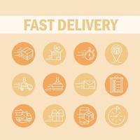 entrega expressa e estilo de bloco de ícones de logística