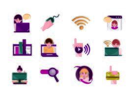 atividades online e pacote de ícones de comunicação digital
