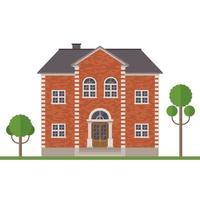 construção de casa de tijolos isolada vetor