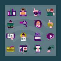 atividades online e ícone de comunicação digital em fundo escuro vetor