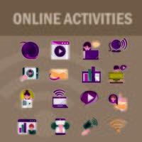 atividades online e conjunto de ícones de comunicação digital