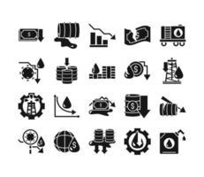coleção de ícones de acidente de petróleo e crise econômica