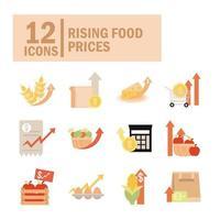 aumento dos preços dos alimentos conjunto de ícones comerciais vetor