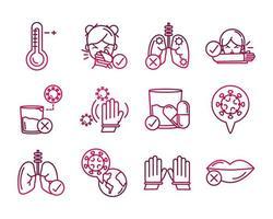 coleção de ícones de prevenção de coronavírus em estilo gradiente