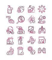 pacote de ícones de prevenção de coronavírus em estilo gradiente