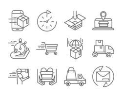 pacote de ícones de pictograma de linha de entrega expressa e logística
