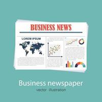 jornal de negócios sobre fundo verde vetor