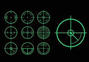 Pacote vetorial de variação de tag de laser alvo verde vetor