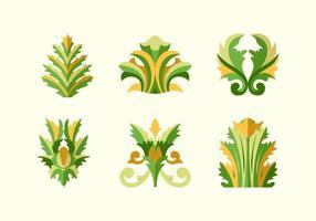 Pacote de vetores de plano floral plano acanthus