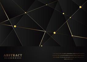 padrão de triângulos abstratos com linhas douradas sobre fundo preto vetor