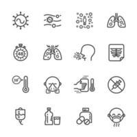 Conjunto de ícones de pictograma de infecção viral respiratória vetor