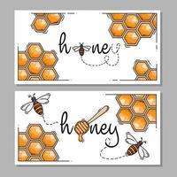 rótulos ou logotipos retangulares de mel e abelhas