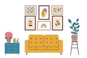 elementos de design de interiores móveis modernos sala de estar