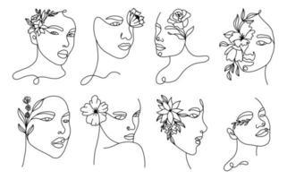 conjunto de retratos lineares de mulher