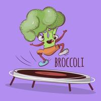 salto esportivo de brócolis vetor