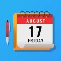 calendário do mês com caneta marcador