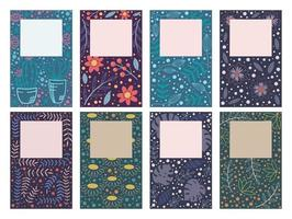 cartões de design de capa com padrões florais vetor