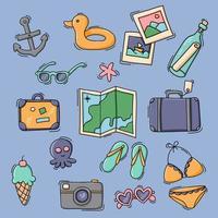conjunto de itens de viagem e férias vetor