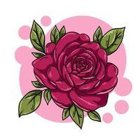 flor rosa fofa com folhas vetor