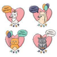 conjunto de ícones de aniversário com gatos engraçados vetor