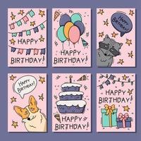 conjunto de cartão de aniversário com animais vetor