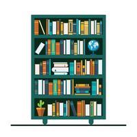 estante com muitos livros vetor