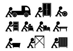Stickman Empurrando um objeto vetor
