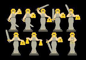 Lady Justice Illustration em Flat Design Style vetor