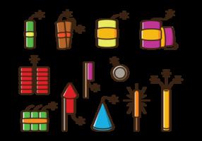 Ícones do vetor Crackers de fogo