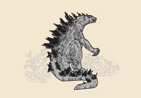 Desenho desenhado Godzilla Vector
