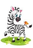 zebra bebê com borboleta vetor