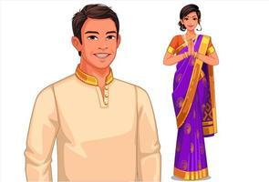 casal indiano em roupa tradicional
