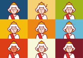 Vetores de expressões de emoções da rainha Elizabeth