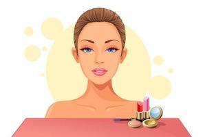 rosto de mulher com kit de maquiagem vetor