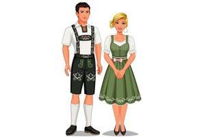 casal em roupas tradicionais alemãs vetor