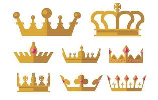 Ícones dourados da coroa vetor