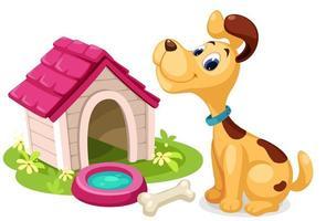 cão bonito dos desenhos animados com casinha vetor