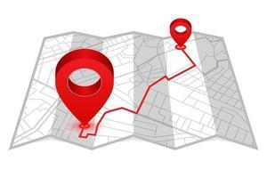 mapa dobrável com pinos de localização vermelhos vetor