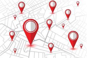 mapa do navegador GPS com localização dos pinos vermelhos vetor