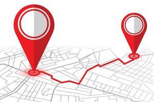 pinos de localização no mapa do navegador gps
