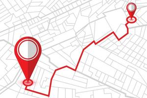 dois pinos de localização no mapa do navegador gps vetor