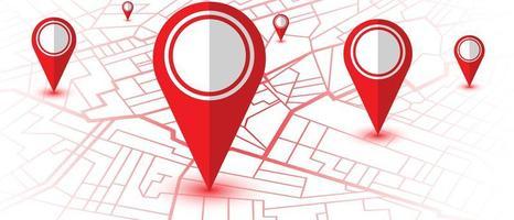 mapa do navegador gps com localização dos pinos vetor