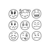 emojis desenhados à mão em branco vetor