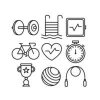 conjunto de ícones de pictograma de esporte vetor