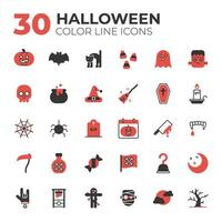 conjunto de ícones vermelhos e pretos de halloween vetor
