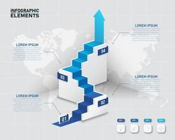 Projeto infográfico de escada 3D com 4 opções vetor