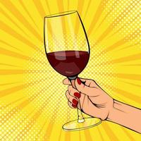 pôster pop art de mão feminina segurando vinho tinto