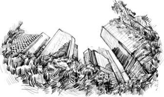 desenho da paisagem urbana em hong kong vetor