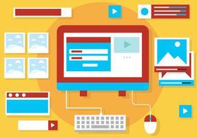 Elementos e ícones da web de vetor de design plano gratuito