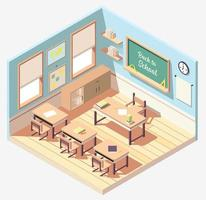 projeto isométrico de sala de aula vetor